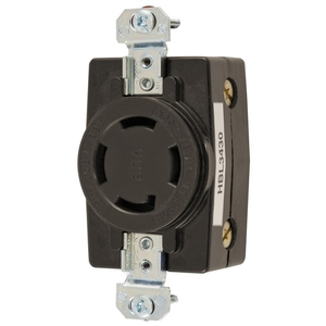 Hubbell-Wiring Kellems HBL3430 Locking Receptacle, Non-NEMA, 30A, 3PH Wye 120/208V, 4P4W, Black