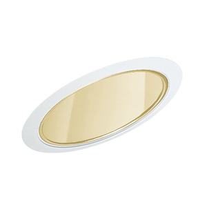 "Juno Lighting 612-GWH Slope Trim, Cone, 6"", Gold Alzak Reflector/White Trim"
