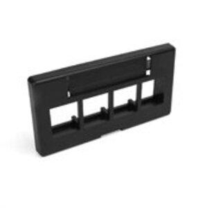 Leviton 49910-SE4 QuikPort Modular Furniture Faceplace, 4-Port, Black, Steel Case