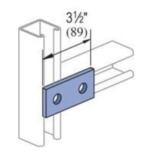 "Unistrut P1065-EG Two Hole Splice Plate, Length: 3-1/2"", Steel/Zinc Plated"