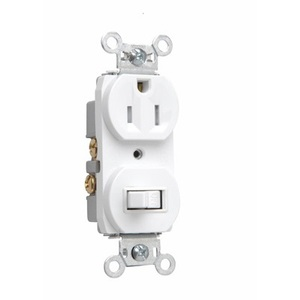 Pass & Seymour 691-TRW Switch / Receptacle Combo, 15A, White