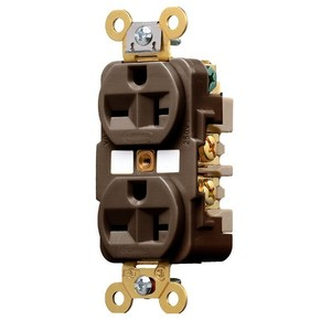 Hubbell-Wiring Kellems HBL5462 Duplex Receptacle, 15A, 250V, Brown, Specification Grade