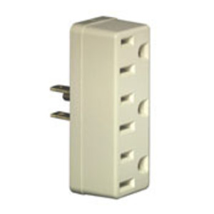 Leviton 697-I Plug-In 3-Outlet Adapter, 15A, Ivory