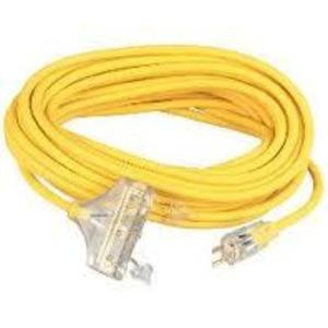 Coleman Cable 4188SW8802 3-Outlet Power Block, 15A, 12/3 SJTW, 50', Yellow