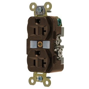 Hubbell-Wiring Kellems HBL5362 Duplex Receptacle, 20A, 125V, 5-20R, Brown