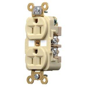 Hubbell-Kellems HBL5262I Duplex Receptacle, 15A, 125V, Ivory, Industrial Grade