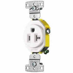 Hubbell-Wiring Kellems RR201WTR Tamper Resistant Single Receptacle, 20A, 125V, White