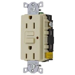 Hubbell-Kellems GF15ILA Circuit Guard GFCI Receptacle, 15A, 125V, Ivory