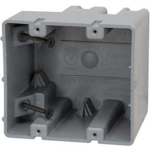 "Madison MSB2G Switch/Outlet Box, 2-Gang, 3-1/4"" Deep, Non-Metallic"