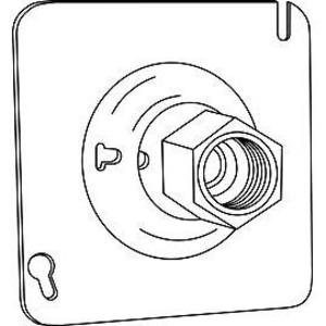 "Hubbell-Raco 896 Swivel Fixture Cover, Fits 4"" Square Boxes, 1/2 or 3/4"" Hubs, Steel"