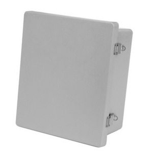 "Allied Moulded AM1084L Enclosure, Hinge Cover, NEMA 4X, 10"" X 8"" x 4"", Gray, Fiberglass"