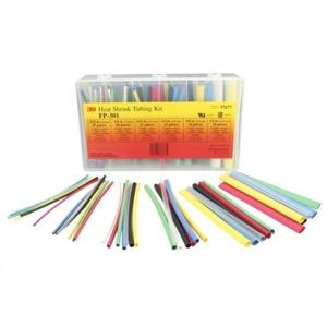 3M FP301-3/32-6-ASSORTED-10-35-PC-PKS Heat Shrink, Thin Wall, Flexible Polyolefin Tubing, 600V