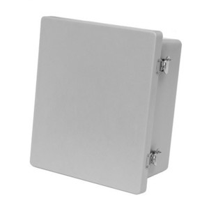 "Allied Moulded AM1648T Enclosure, Hinge Cover, NEMA 4X, 16"" X 14"" x 8"", Gray, Fiberglass"