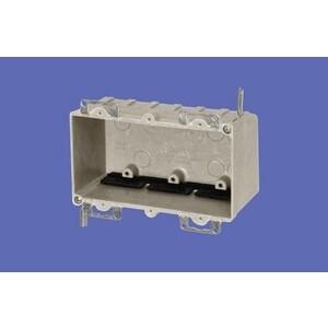 "Allied Moulded 9313-EW Switch/Outlet Box, 3-Gang, Depth: 2-7/8"", Ear Brackets, Non-Metallic"