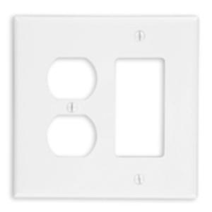 Leviton PJ826-W Combo Wallplate, 2-Gang, Duplex/Decora, Nylon, White, Midway