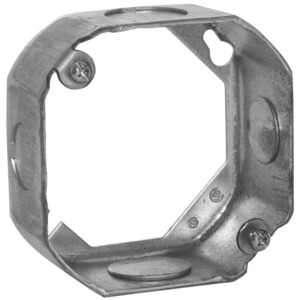 "Hubbell-Raco 130 4"" Octagon Box Extension Ring, 1-1/2"" Deep, 1/2"" & 3/4"" KOs, Steel"