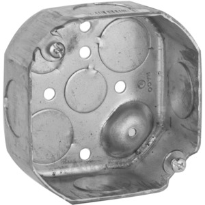 "Hubbell-Raco 126 4"" Octagon Box, 1-1/2"" Deep, 1/2"" & 3/4"" KOs, Drawn, Steel"