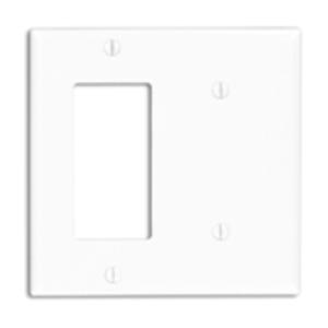 Leviton 80708-E Combo Wallplate, 2-Gang, Blank/Decora-GFCI, Nylon, Black Standard