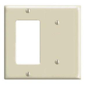 Leviton 80708-I Combo Wallplate, 2-Gang, Blank/Decora-GFCI, Nylon, Ivory, Standard