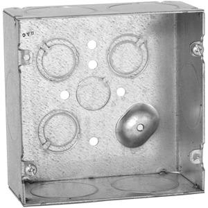 "Hubbell-Raco 259 4-11/16"" Square Box, Welded, Metallic, 2-1/8"" Deep"