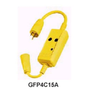 Hubbell-Wiring Kellems GFP4C15M In-Line GFCI, Molded-On Plug & Connector, 15A, 18""