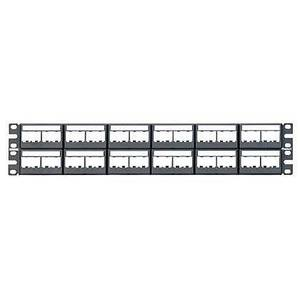 Panduit CPPL48WBLY Patch Panel, Mini-Com, 48 Port, w/12 CFFPL4 Faceplates, 2RMU, Black