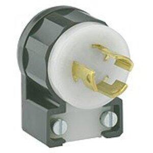 Leviton 4720-CA Locking Plug, Angled, 15A, 125V, 2P3W, Grounding, Black/White