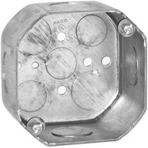 "Hubbell-Raco 166 4"" Octagon Box, 2-1/8"" Deep, 1/2"" & 3/4"" KOs, Drawn, Steel"