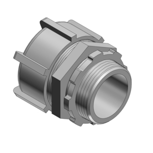 "Thomas & Betts 5231AL Liquidtight Connector, Straight, Non-Insulated, Size: 3/8"", Aluminum"