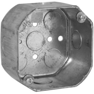 "Hubbell-Raco 165 4"" Octagon Box, 2-1/8"" Deep, 1/2"" KOs, Drawn, Steel"
