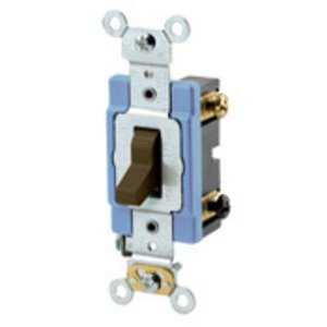 Leviton 1203-2 3-Way Toggle Switch, 15A, 120/277V, Brown, Industrial Grade