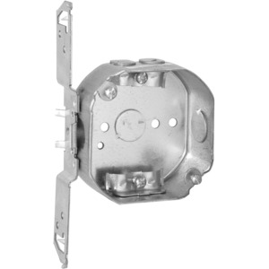 """Hubbell-Raco 164 4"""" Octagon Box, 1-1/2"""" Deep, NM Clamps, TS-Bracket, Drawn, Steel"""