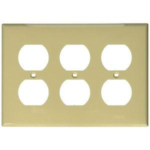 Leviton 80730-I Duplex Receptacle Wallplate, 3-Gang, Nylon, Ivory