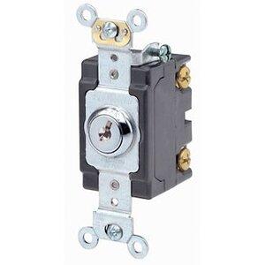Leviton 1223-2KL 3-Way Key Lock Power Switch, 20A, 120/277V, Nickel Plated