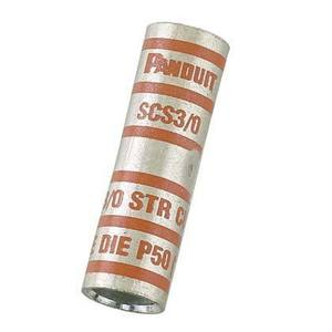 Panduit SCS1-E Compression Buttsplice, Standard Barrel, Copper, 1 AWG, 20/Box