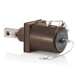 Leviton 49MR2-XH Rhino-Hide 49 Series Double Pole Male 45 Degree Receptacle (Color Coded Metal Housing, Contact, Captive Clevis Pin & Dust Cap), Single Hole Bus Bar, Industrial Grade, 313MCM-777MCM Cable, 1000 Volt, 1135 Amp Max - BROWN