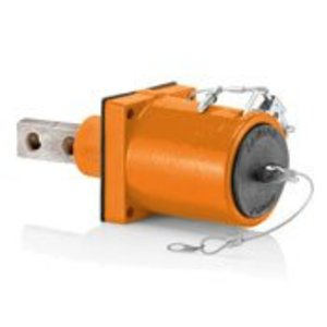 Leviton 49MR2-XO Rhino-Hide 49 Series Double Pole Male 45 Degree Receptacle (Color Coded Metal Housing, Contact, Captive Clevis Pin & Dust Cap), Single Hole Bus Bar, Industrial Grade, 313MCM-777MCM Cable, 1000 Volt, 1135 Amp Max - ORANGE
