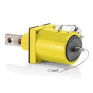 Leviton 49MR2-XY Rhino-Hide 49 Series Double Pole Male 45 Degree Receptacle (Color Coded Metal Housing, Contact, Captive Clevis Pin & Dust Cap), Single Hole Bus Bar, Industrial Grade, 313MCM-777MCM Cable, 1000 Volt, 1135 Amp Max - YELLOW