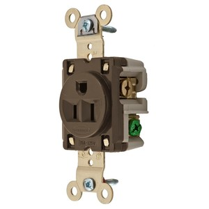 Hubbell-Kellems HBL5261 Single Receptacle, 15A, 125V, Brown, Panel Mount