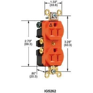 Hubbell-Kellems IG5262 Duplex Receptacle, Isolated Ground, 15A, 125V, Orange
