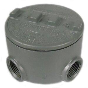 """Appleton GRUE50-A Universal Conduit Outlet Box, Type: GRUE, (5) 1/2"""" Hubs, Aluminum"""