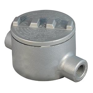 """Appleton GRC100-A Conduit Outlet Box, Type GRC, (2) 1"""" Hubs, Aluminum"""
