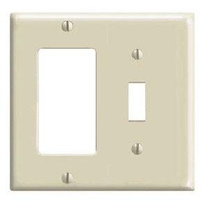 Leviton 80707-I Comb. Wallplate, 2-Gang, Toggle/Decora, Nylon, Ivory, Standard