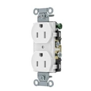 Hubbell-Kellems CR15WHI Duplex Receptacle, 15A, 125V, Narrow, 5-15R, White