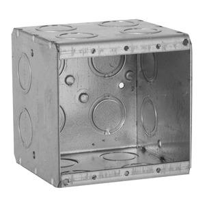 "Hubbell-Raco 696 Masonry Box, 2-Gang, 3-1/2"" Deep, 1/2 "" & 3/4"" KOs, Metallic"