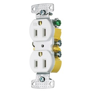 Hubbell-Wiring Kellems RR15SWTR Tamper Resistant Duplex Receptacle, 15A, 125V, White