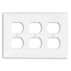 Leviton 80730-GY Duplex Receptacle Wallplate, 3-Gang, Nylon, Gray