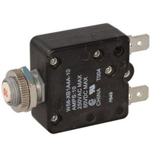 Tyco Electronics W58-XB1A4A-10 10 Amp Push-To-Reset Thermal Breaker W58