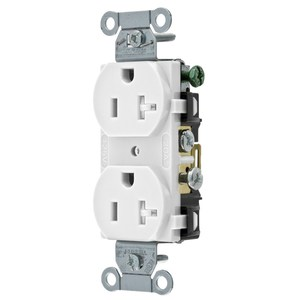 Hubbell-Wiring Kellems CR20WHITR Tamper Resistant Duplex Receptacle, 20A, 125V, White, 5-20R