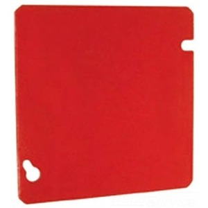 "Hubbell-Raco 911-11 4-11/16"" Square Cover, Flat, Blank, Red"